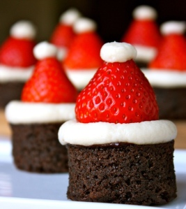 By adinaplus (santa hat brownie bites; great idea for Christmas.) [CC BY 2.0 (http://creativecommons.org/licenses/by/2.0)], via Wikimedia Commons